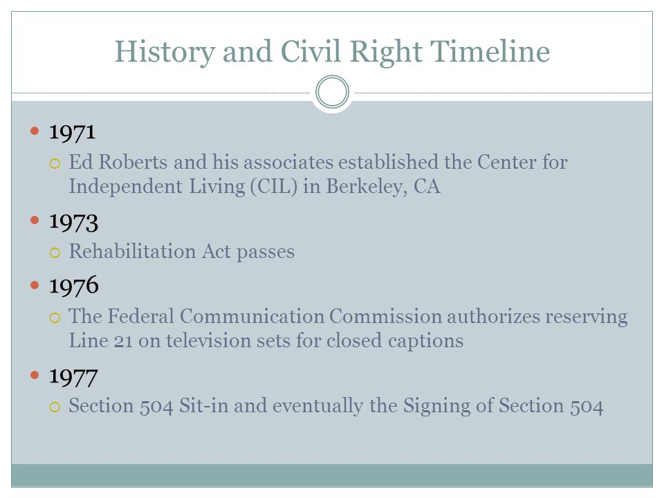History and Civil Right Timeline 1978  American Disabled for Public Transit (ADAPT) was founded  Handicapping America by Frank Bowe is published 1981  The telecommunication for the Disabled Act passed 1983  ADAPT launches nationwide campaign for Accessible Transportation 1988  Gallaudet's Deaf President Now (DPN) protest was held