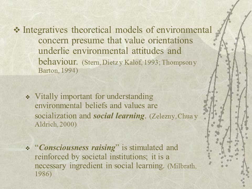  Vitally important for understanding environmental beliefs and values are socialization and social learning.