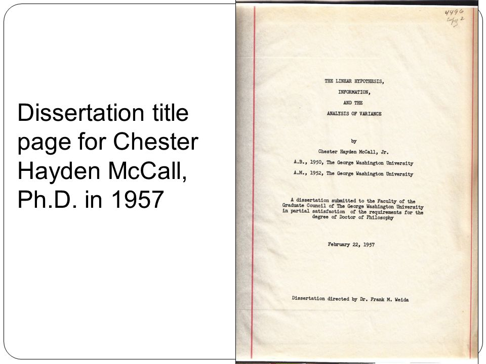 15 Dissertation title page for Chester Hayden McCall, Ph.D. in 1957