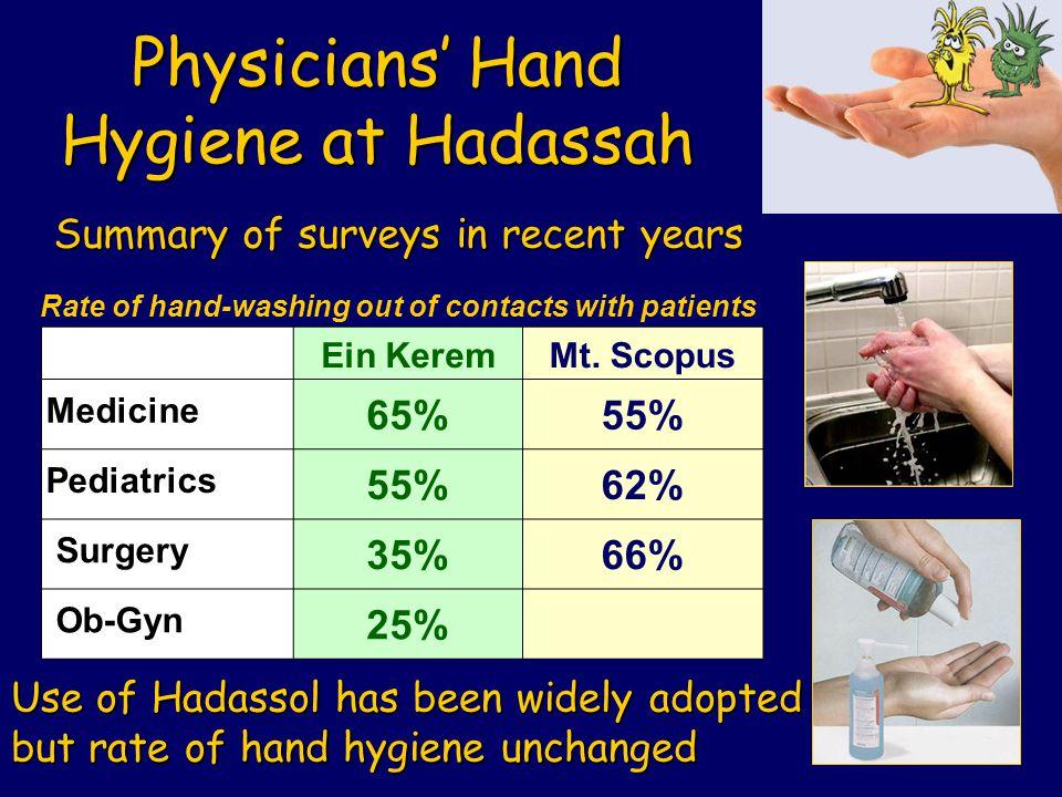 Physicians' Hand Hygiene at Hadassah Mt.