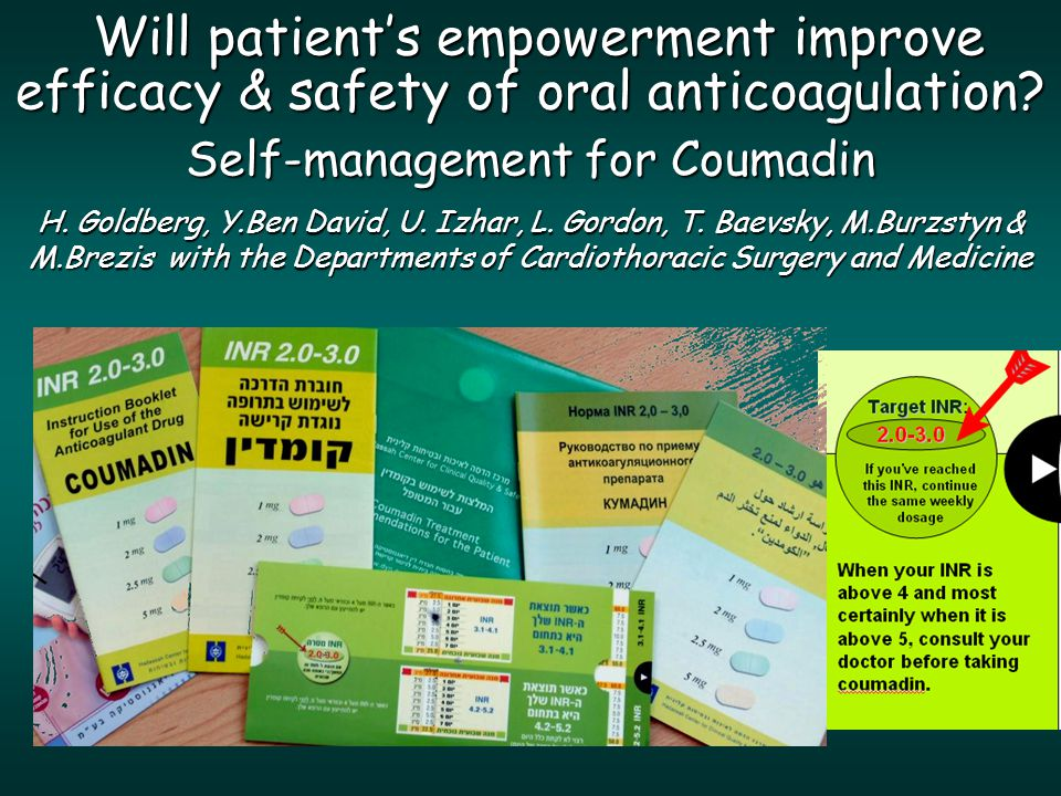 Will patient's empowerment improve efficacy & safety of oral anticoagulation.