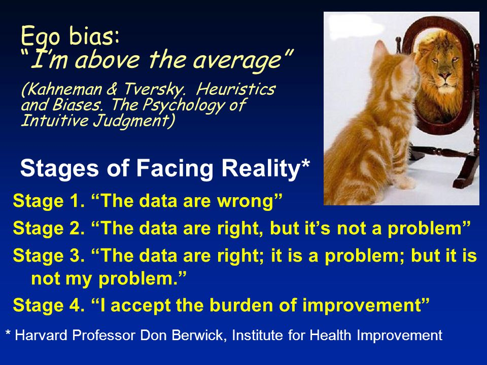 * Harvard Professor Don Berwick, Institute for Health Improvement Stages of Facing Reality* Ego bias: I'm above the average (Kahneman & Tversky.