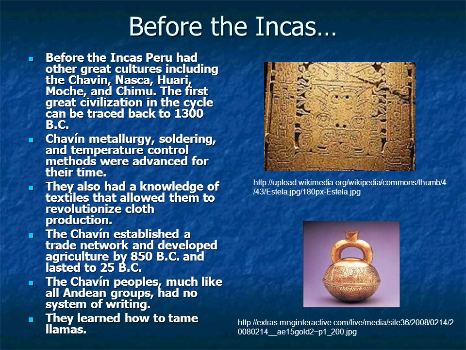 Before the Incas… Before the Incas Peru had other great cultures including the Chavin, Nasca, Huari, Moche, and Chimu.