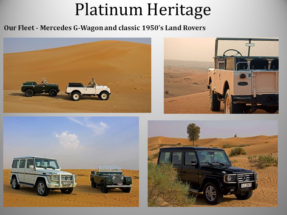 Platinum Heritage Our Fleet - Mercedes G-Wagon and classic 1950's Land Rovers
