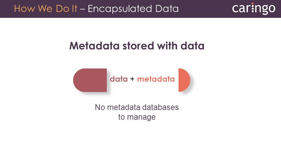 How We Do It – Encapsulated Data Metadata stored with data No metadata databases to manage data + metadata