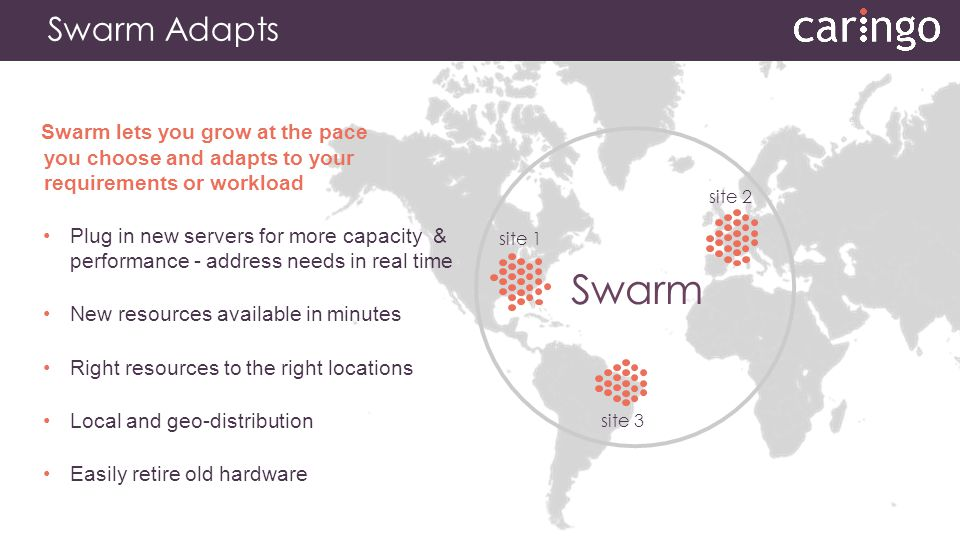 Swarm Adapts Swarm lets you grow at the pace you choose and adapts to your requirements or workload Plug in new servers for more capacity & performanc
