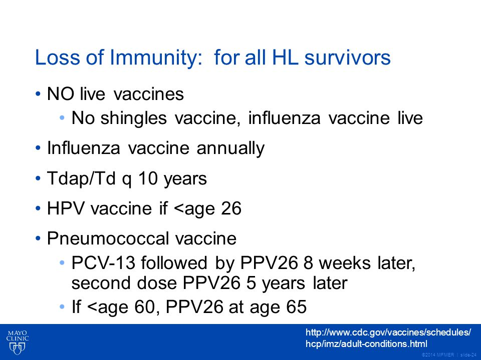 ©2014 MFMER | slide-24 Loss of Immunity: for all HL survivors NO live vaccines No shingles vaccine, influenza vaccine live Influenza vaccine annually Tdap/Td q 10 years HPV vaccine if <age 26 Pneumococcal vaccine PCV-13 followed by PPV26 8 weeks later, second dose PPV26 5 years later If <age 60, PPV26 at age 65 http://www.cdc.gov/vaccines/schedules/ hcp/imz/adult-conditions.html