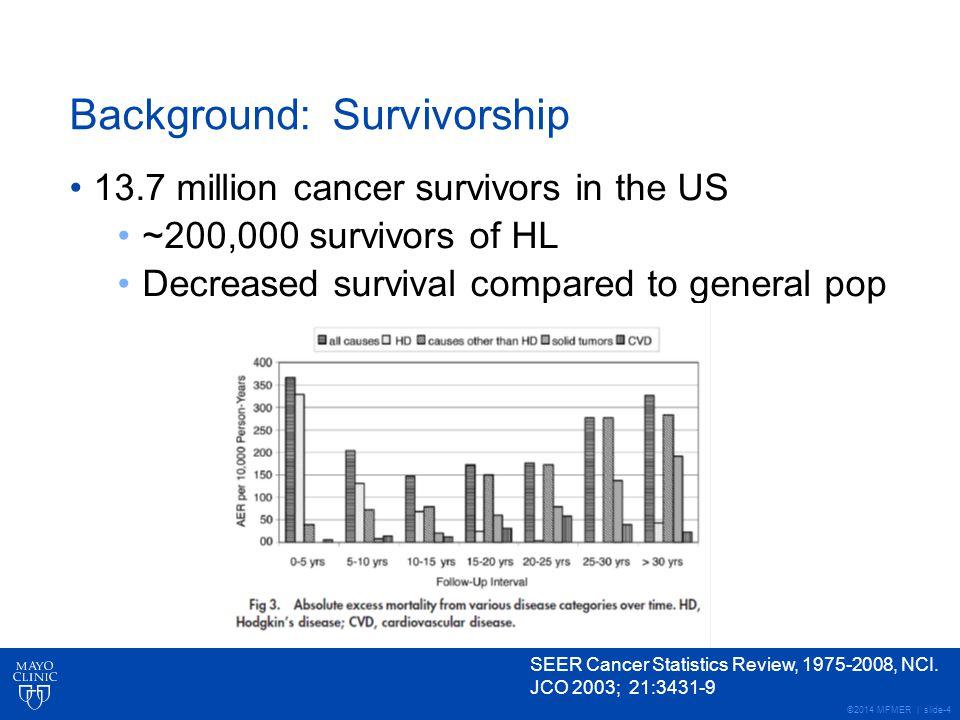 ©2014 MFMER | slide-4 Background: Survivorship 13.7 million cancer survivors in the US ~200,000 survivors of HL Decreased survival compared to general pop SEER Cancer Statistics Review, 1975-2008, NCI.