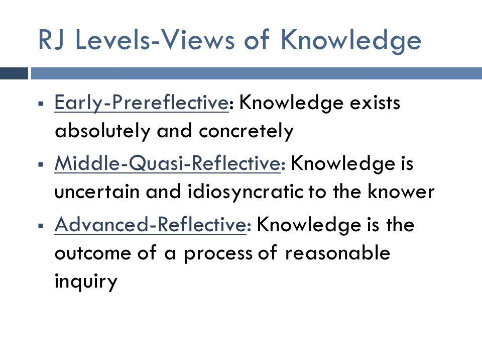 RJ Levels-Views of Knowledge  Early-Prereflective: Knowledge exists absolutely and concretely  Middle-Quasi-Reflective: Knowledge is uncertain and idiosyncratic to the knower  Advanced-Reflective: Knowledge is the outcome of a process of reasonable inquiry