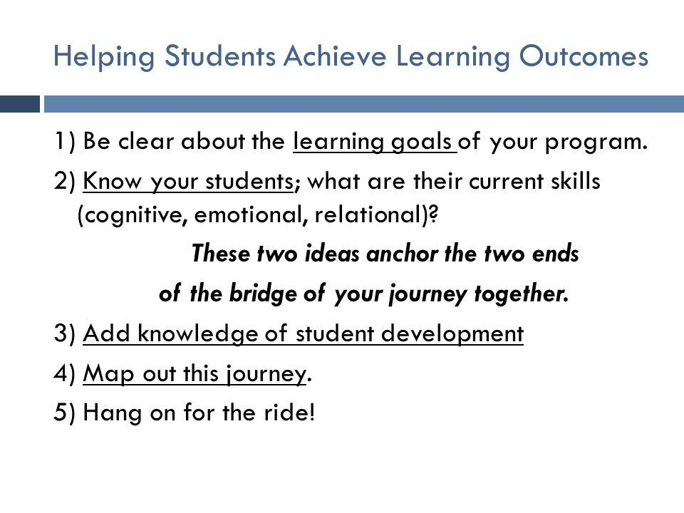 Helping Students Achieve Learning Outcomes 1) Be clear about the learning goals of your program. 2) Know your students; what are their current skills