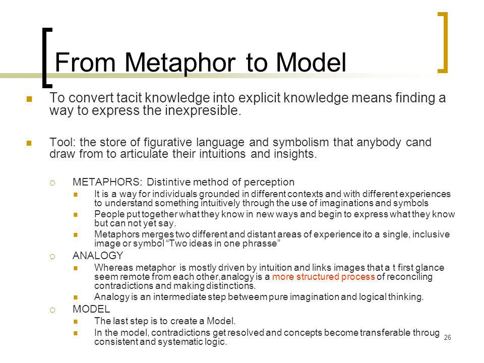 26 From Metaphor to Model To convert tacit knowledge into explicit knowledge means finding a way to express the inexpresible.