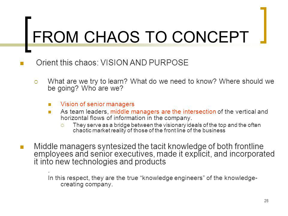 28 FROM CHAOS TO CONCEPT Orient this chaos: VISION AND PURPOSE  What are we try to learn.
