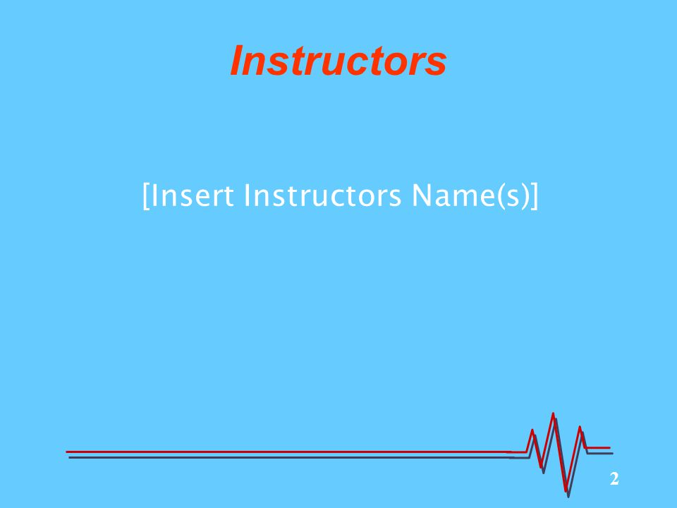 2 Instructors [Insert Instructors Name(s)]