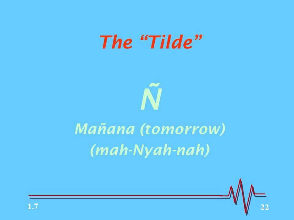 22 The Tilde Ñ Mañana (tomorrow) (mah-Nyah-nah) 1.7