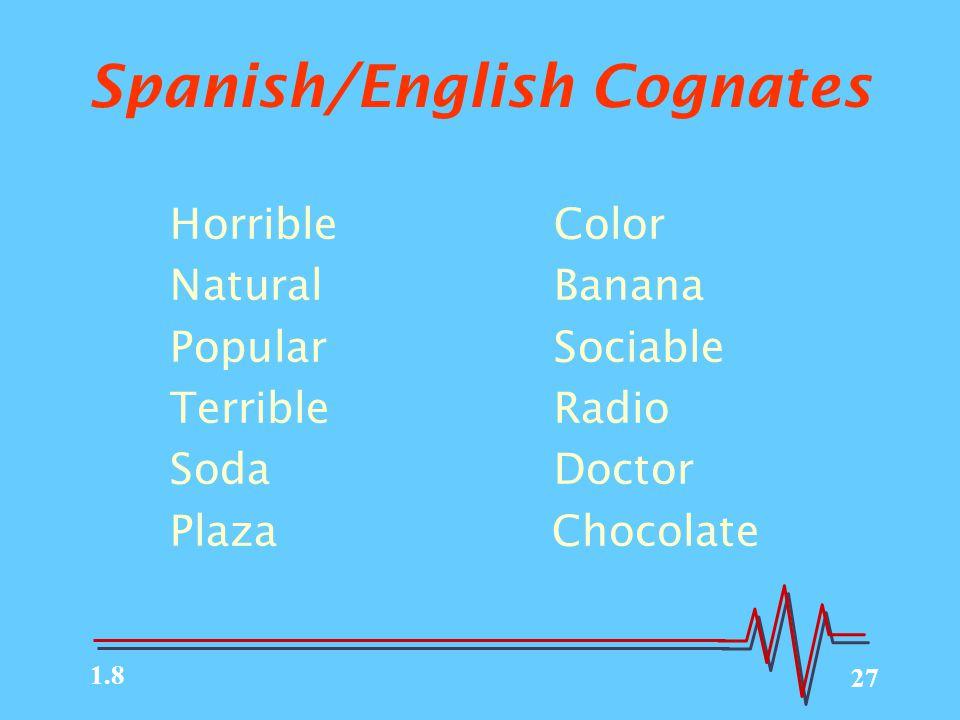 27 Spanish/English Cognates HorribleColor NaturalBanana PopularSociable TerribleRadio SodaDoctor Plaza Chocolate 1.8