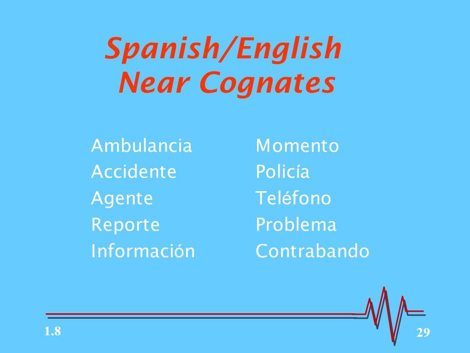 29 AmbulanciaMomento AccidentePolic í a AgenteTel é fono ReporteProblema Informaci ó nContrabando Spanish/English Near Cognates 1.8