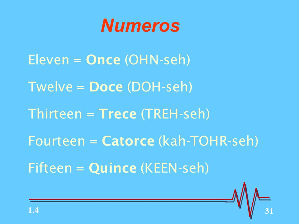 31 Eleven = Once (OHN-seh) Twelve = Doce (DOH-seh) Thirteen = Trece (TREH-seh) Fourteen = Catorce (kah-TOHR-seh) Fifteen = Quince (KEEN-seh) Numeros 1