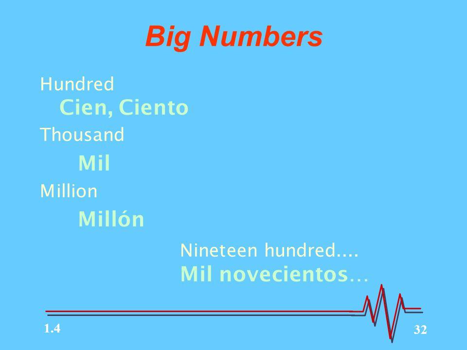 32 Big Numbers Hundred Cien, Ciento Thousand Mil Million Millón Nineteen hundred....
