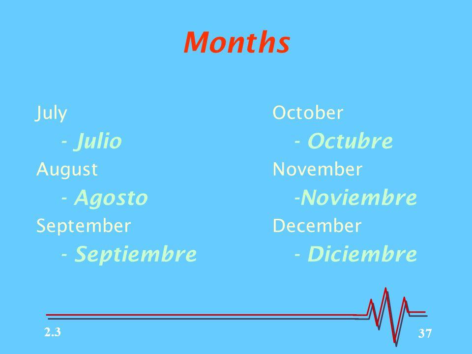 37 Months JulyOctober - Julio - Octubre AugustNovember - Agosto -Noviembre SeptemberDecember - Septiembre - Diciembre 2.3