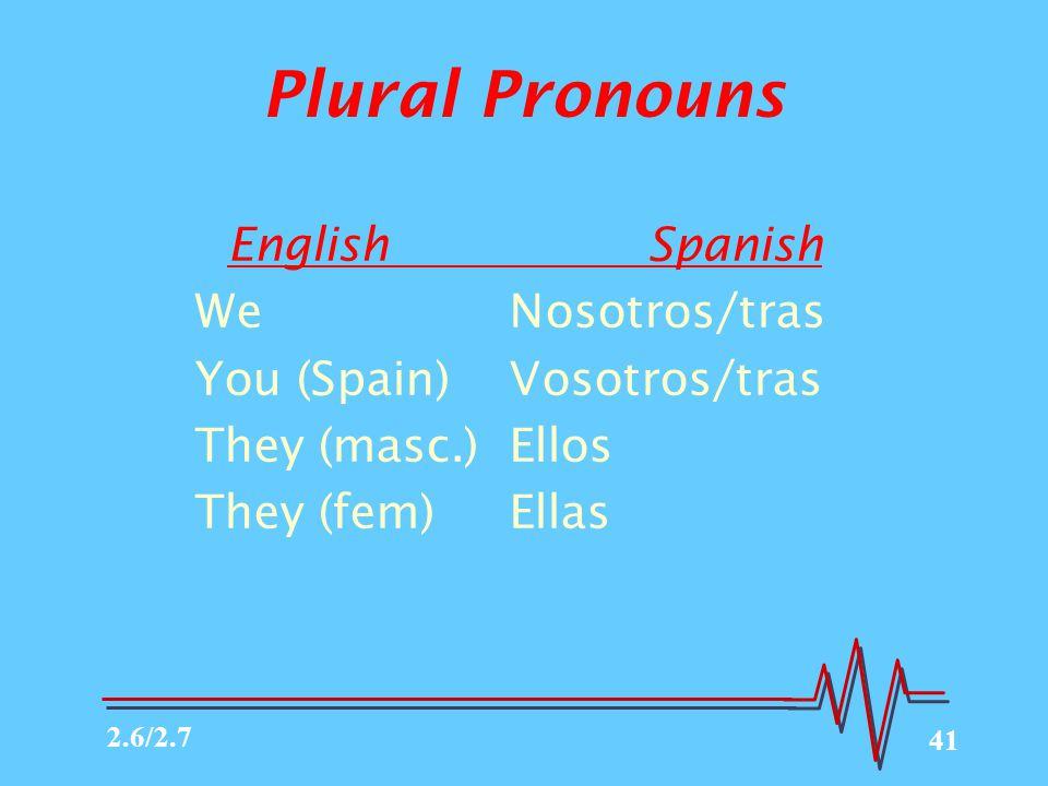 41 Plural Pronouns English Spanish WeNosotros/tras You (Spain)Vosotros/tras They (masc.)Ellos They (fem)Ellas 2.6/2.7