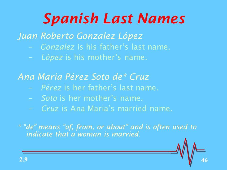 46 Spanish Last Names Juan Roberto Gonzalez López – Gonzalez is his father's last name.