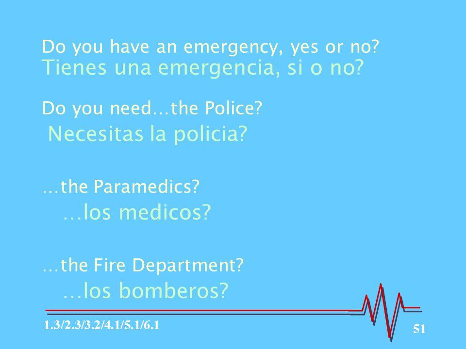 51 Do you have an emergency, yes or no.Tienes una emergencia, si o no.