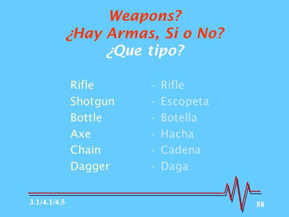 58 Weapons.¿Hay Armas, Si o No. ¿Que tipo.
