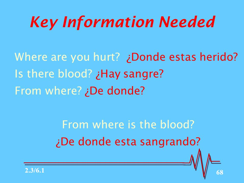68 Key Information Needed Where are you hurt? ¿Donde estas herido? Is there blood? ¿Hay sangre? From where? ¿De donde? From where is the blood? ¿De do