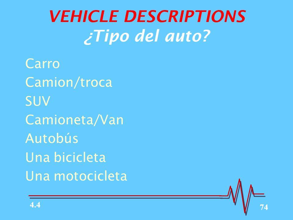 74 VEHICLE DESCRIPTIONS ¿Tipo del auto.