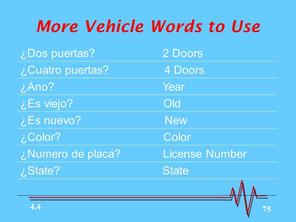 75 More Vehicle Words to Use ¿Dos puertas.2 Doors ¿Cuatro puertas.