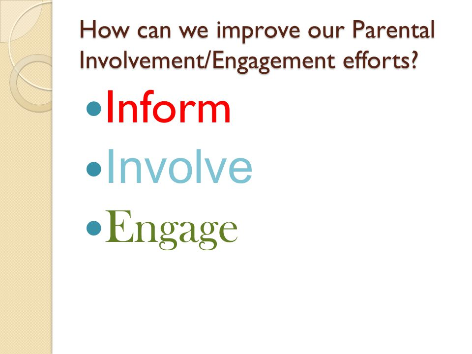 How can we improve our Parental Involvement/Engagement efforts Inform Involve Engage