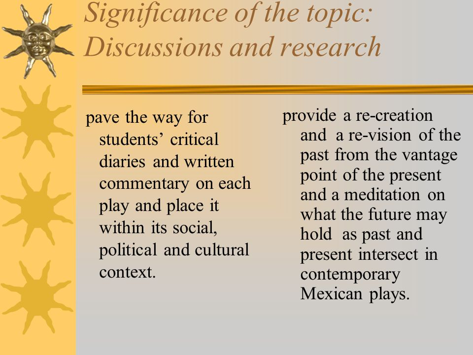 Significance of the topic: Discussions and research pave the way for students' critical diaries and written commentary on each play and place it within its social, political and cultural context.