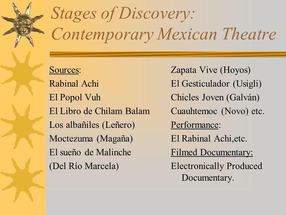 Stages of Discovery: Contemporary Mexican Theatre Sources: Rabinal Achi El Popol Vuh El Libro de Chilam Balam Los albañiles (Leñero) Moctezuma (Magaña