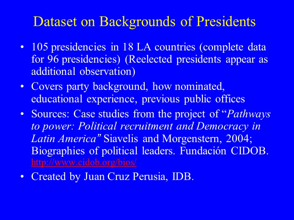 Process Used to Select Presidents (No. of Presidencies)