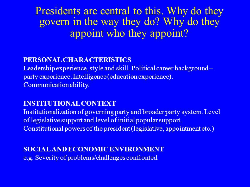 What personal characteristics might matter for promoter of state reform.