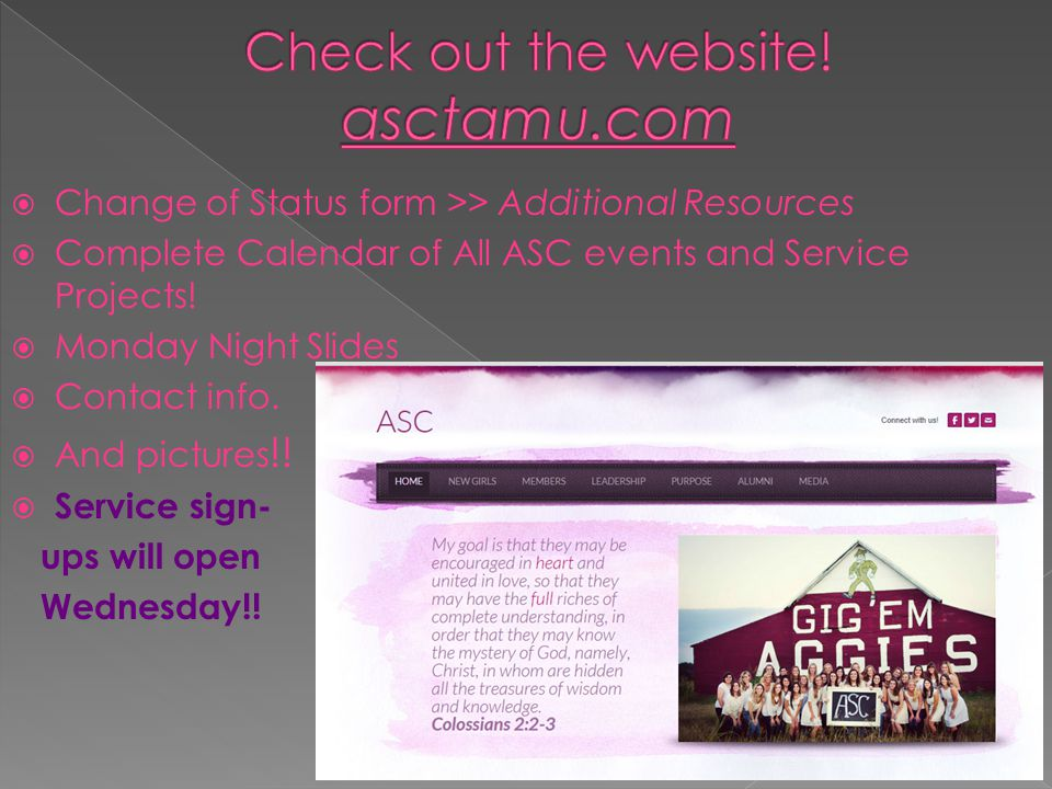  Change of Status form >> Additional Resources  Complete Calendar of All ASC events and Service Projects.