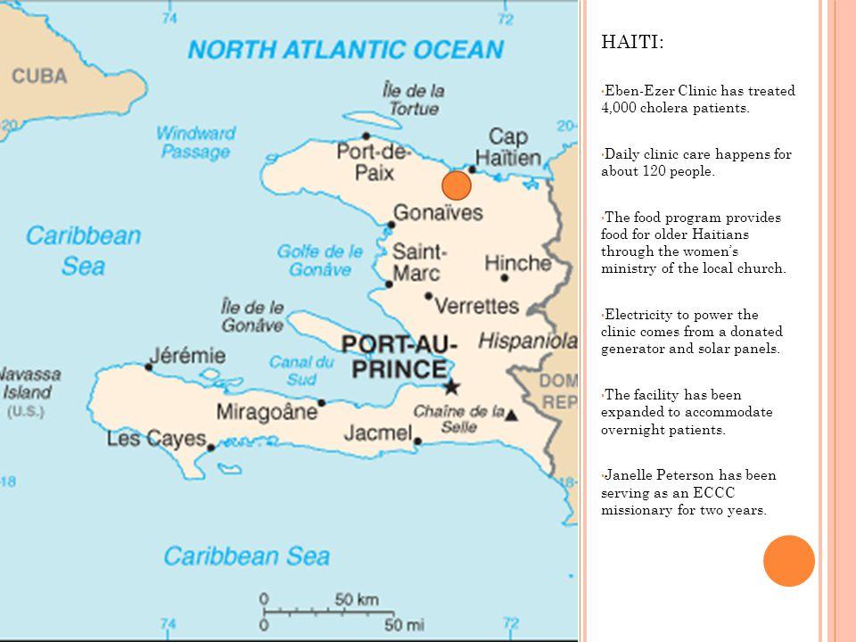 HAITI: Eben-Ezer Clinic has treated 4,000 cholera patients.