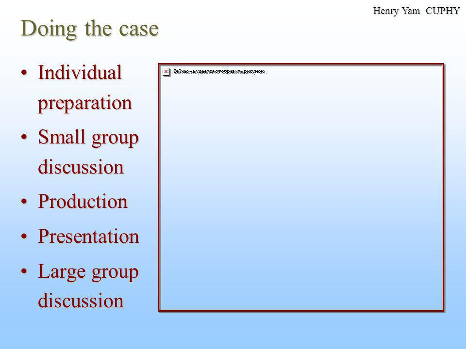 Doing the case Individual preparationIndividual preparation Small group discussionSmall group discussion ProductionProduction PresentationPresentation Large group discussionLarge group discussion Henry Yam CUPHY