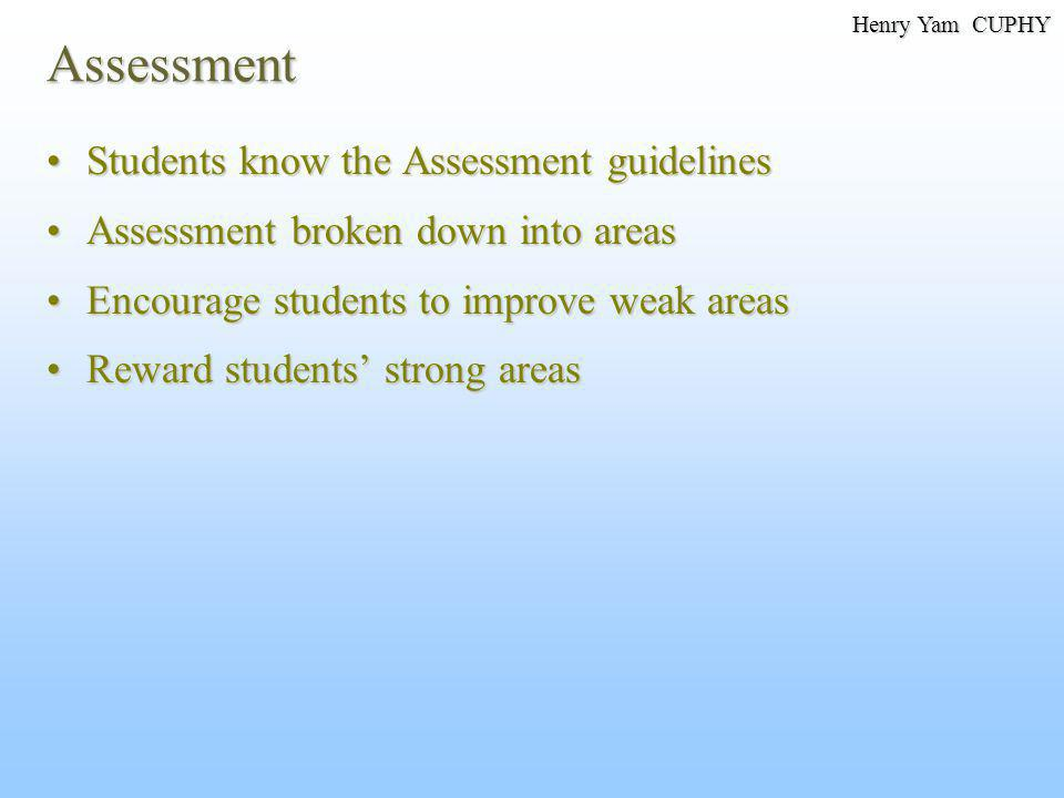 Assessment Students know the Assessment guidelinesStudents know the Assessment guidelines Assessment broken down into areasAssessment broken down into