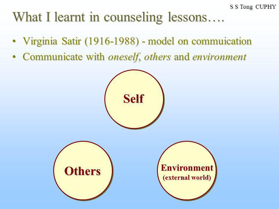What I learnt in counseling lessons….
