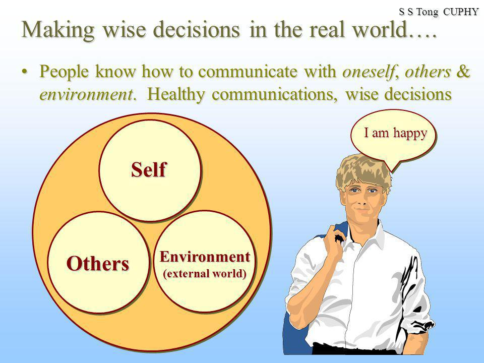 Making wise decisions in the real world…. People know how to communicate with oneself, others & environment. Healthy communications, wise decisionsPeo