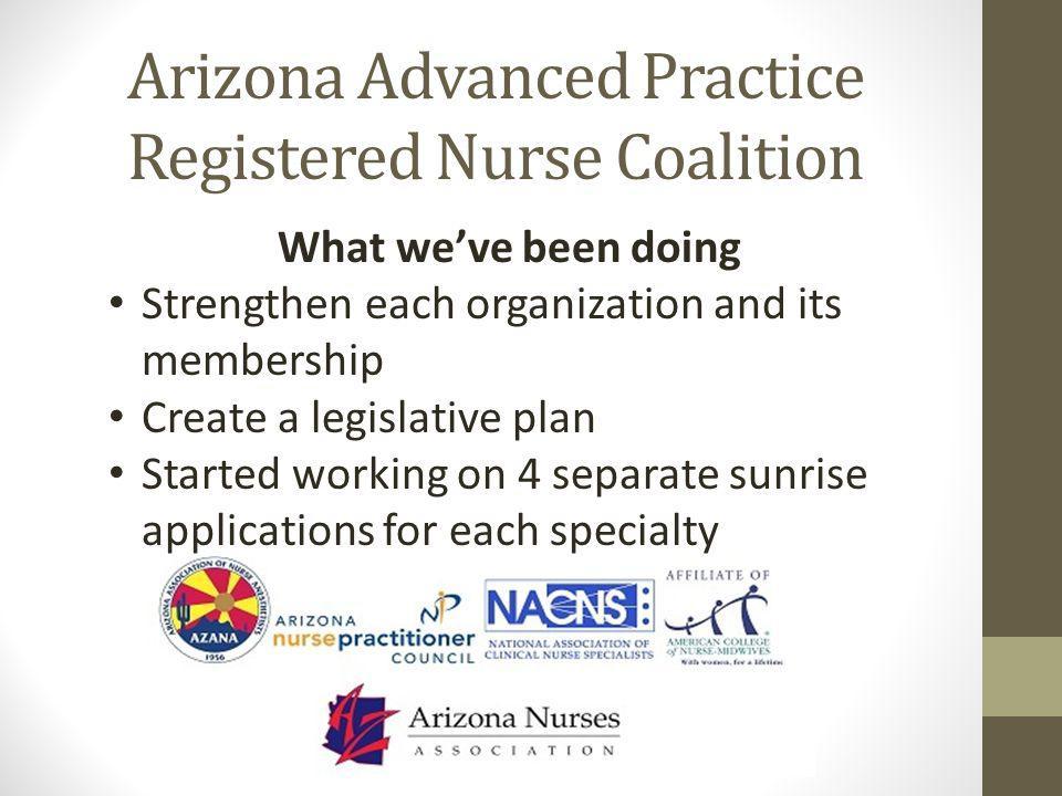 Arizona Advanced Practice Registered Nurse Coalition What we've been doing Strengthen each organization and its membership Create a legislative plan S