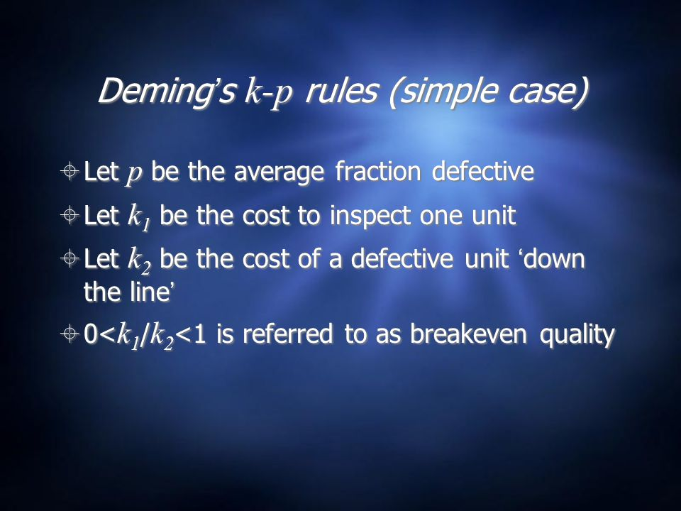 Deming's k-p rules (simple case)  Let p be the average fraction defective  Let k 1 be the cost to inspect one unit  Let k 2 be the cost of a defective unit 'down the line'  0< k 1 / k 2 <1 is referred to as breakeven quality  Let p be the average fraction defective  Let k 1 be the cost to inspect one unit  Let k 2 be the cost of a defective unit 'down the line'  0< k 1 / k 2 <1 is referred to as breakeven quality
