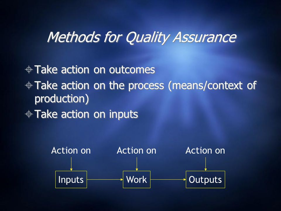 Methods for Quality Assurance  Take action on outcomes  Take action on the process (means/context of production)  Take action on inputs  Take action on outcomes  Take action on the process (means/context of production)  Take action on inputs WorkInputsOutputs Action on