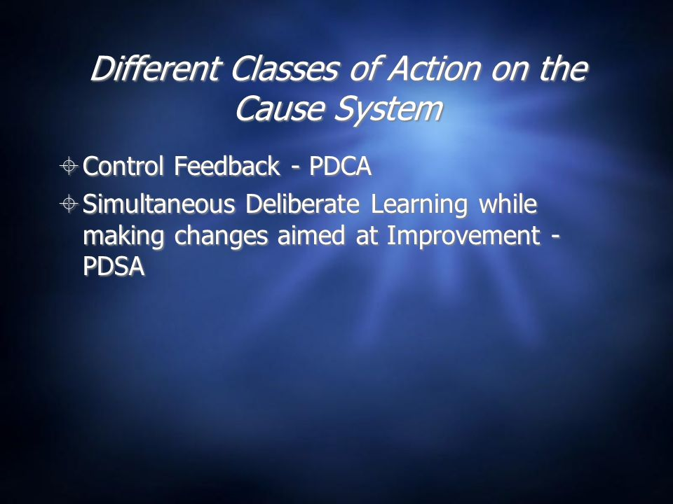 Different Classes of Action on the Cause System  Control Feedback - PDCA  Simultaneous Deliberate Learning while making changes aimed at Improvement - PDSA  Control Feedback - PDCA  Simultaneous Deliberate Learning while making changes aimed at Improvement - PDSA