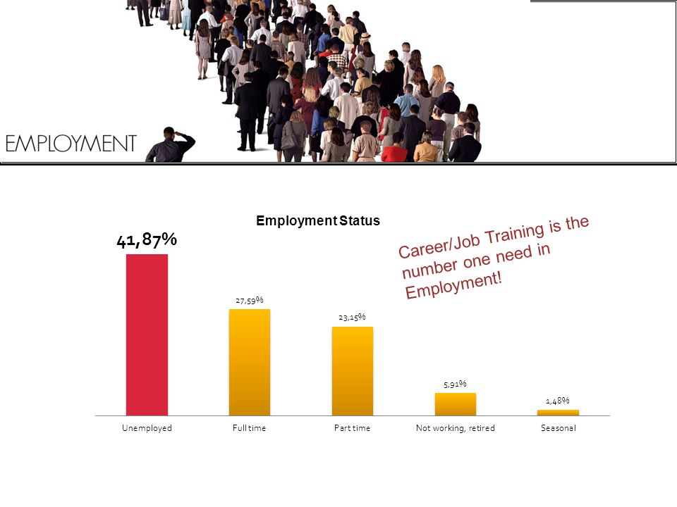 Career/Job Training is the number one need in Employment!