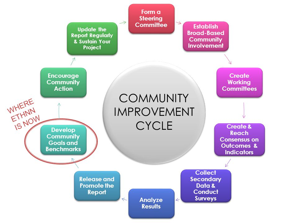 Form a Steering Committee Establish Broad-Based Community Involvement Create Working Committees Create & Reach Consensus on Outcomes & Indicators Collect Secondary Data & Conduct Surveys Analyze Results Release and Promote the Report Develop Community Goals and Benchmarks Encourage Community Action Update the Report Regularly & Sustain Your Project COMMUNITY IMPROVEMENT CYCLE WHERE ETHNN IS NOW