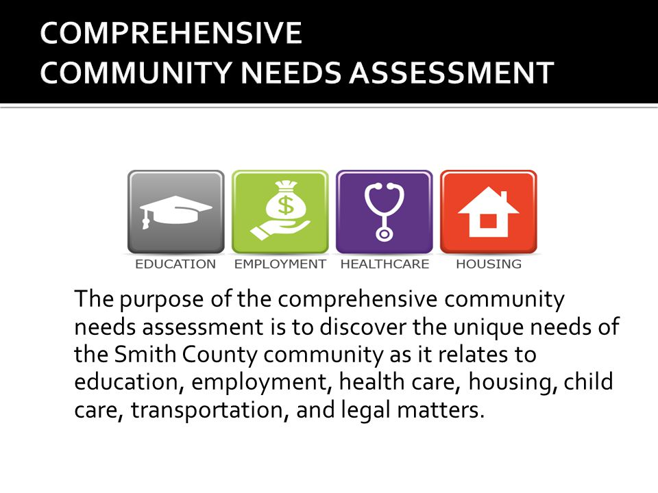 The purpose of the comprehensive community needs assessment is to discover the unique needs of the Smith County community as it relates to education, employment, health care, housing, child care, transportation, and legal matters.