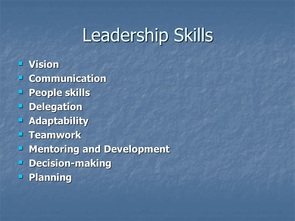 Leadership Skills  Vision  Communication  People skills  Delegation  Adaptability  Teamwork  Mentoring and Development  Decision-making  Planning