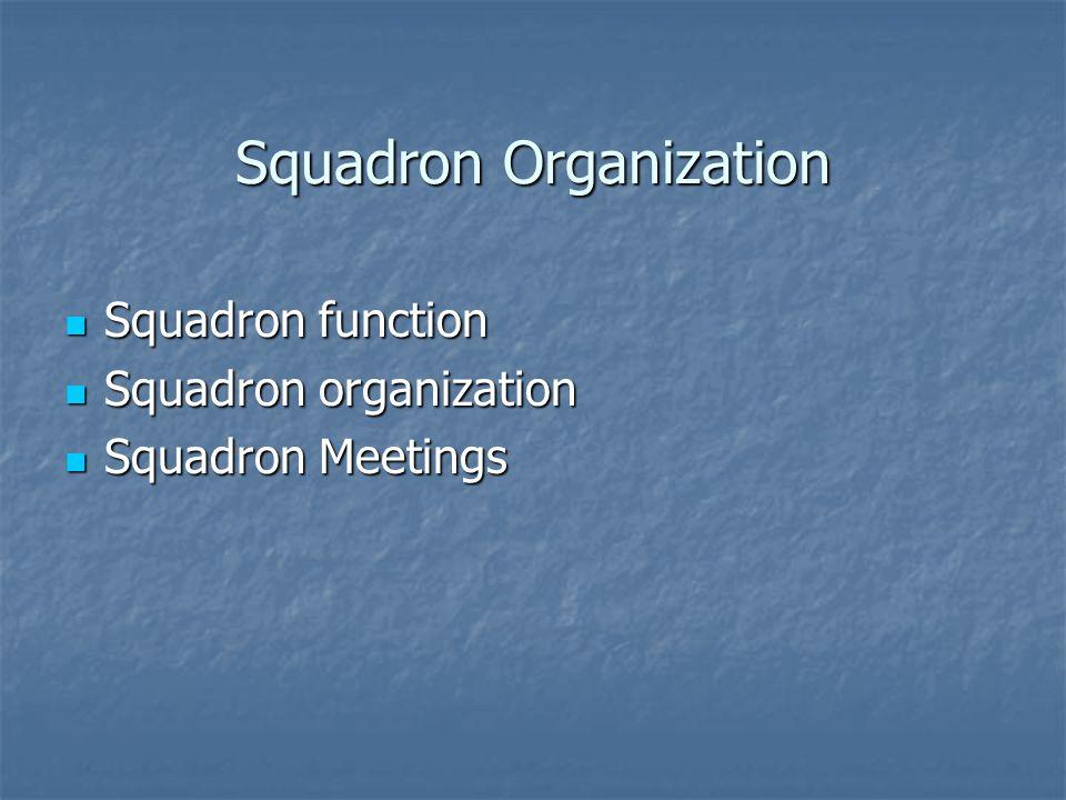 Squadron Organization Squadron function Squadron function Squadron organization Squadron organization Squadron Meetings Squadron Meetings